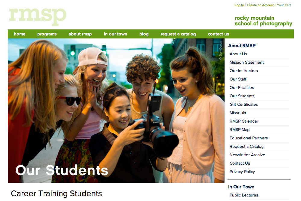 "Screenshot of RMSP site:  ""Out Students"" page."